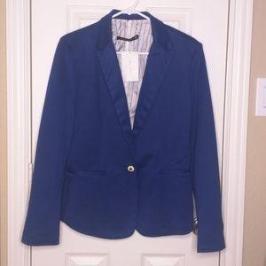 Zara Woman Large Blue One Button Blazer